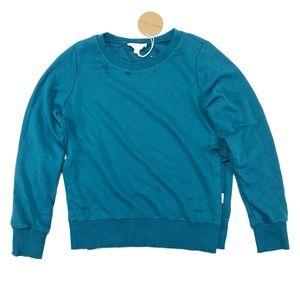 Honey Punch Size XS Distressed Hole Sweatshirt NWT